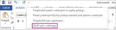 Príkaz Zbaliť pás s nástrojmi po kliknutí pravým tlačidlom myši na kartu na páse s nástrojmi vo Worde 2013