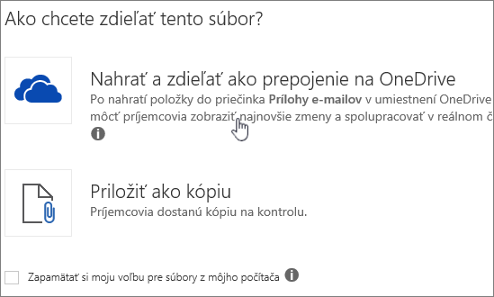 Snímka obrazovky prílohu dialógové okno zobrazujúce ukladania a priložiť ako súbor možnosť OneDrive.