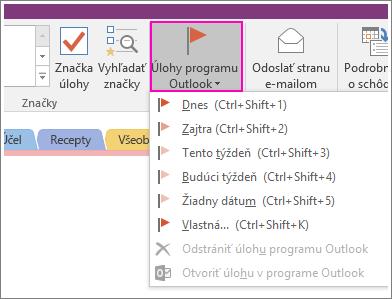 Snímka obrazovky stlačidlom Úlohy Outlooku vo OneNote 2016.