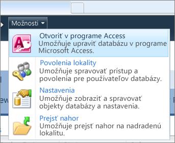 V ponuke Možnosti webovej lokality databázy na lokalite SharePoint