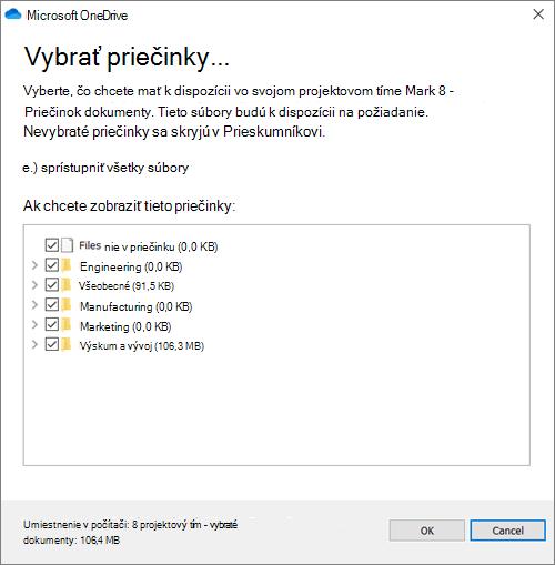 Snímka obrazovky s dialógovým oknom na konfiguráciu priečinkov, ktoré sa majú synchronizovať.