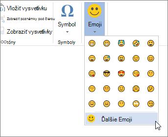 Kliknite na tlačidlo Ďalšie emoji na emoji na karte Vložiť a vyberte všetky dostupné emoji.