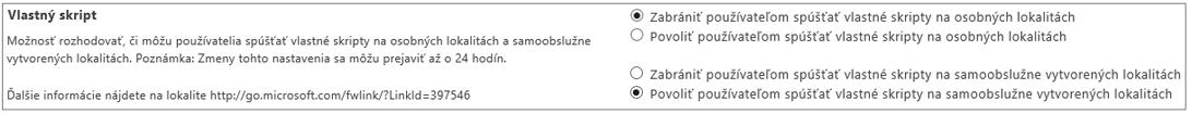 Snímka obrazovky snastavením vlastného skriptu vCentre spravovania služby SharePoint Online