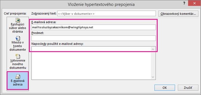 Zobrazí sa dialógové okno svybratou možnosťou vloženia prepojenia do e-mailu