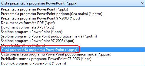 Zoznam typov súborov v PowerPointe zahŕňa formát Čistá prezentácia programu PowerPoint (.ppsx)
