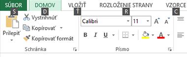 Excel 2013 pás s klávesovými skratkami