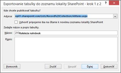 Prvá strana dialógového okna Export do SharePointu