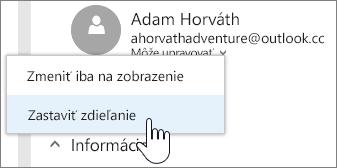 Snímka obrazovky svýberom povolení danej osoby aukončením zdieľania
