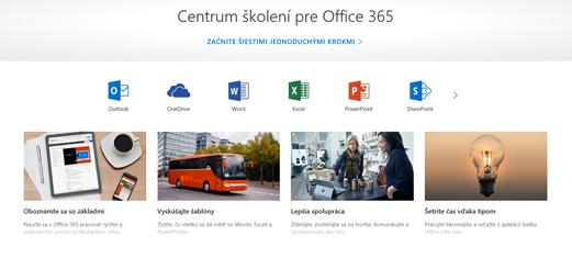 Domovská stránka Centra školení na Office s ikonami pre rôzne aplikácie balíka Office a dlaždicami pre dostupné typy obsahu
