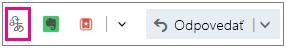 Outlook.com so zvýrazneným tlačidlom doplnku Translator