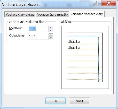 Dialógové okno Vodiace čiary rozloženia programu Publisher so zobrazenou kartou Základné vodiace čiary