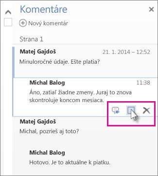 Obrázok príkazu na označenie komentárov ako dokončených. Príkaz zobrazíte kliknutím na komentár.