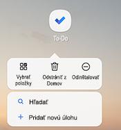 Snímka obrazovky zobrazujúca kontextovú ponuku Androidu, ktorá obsahuje zoznam možností: výber položiek, odstránenie z domovskej obrazovky, odinštalovanie, vyhľadávanie a pridanie novej úlohy