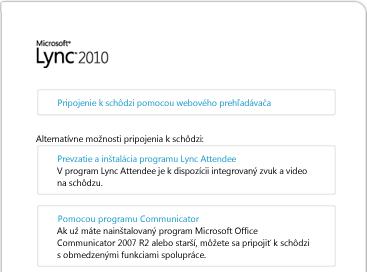 Obrázok okna prehľadávača programu Lync