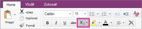 Výber možnosti kliknutím na tlačidlo Dolný index a Horný index