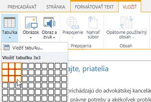 Vloženie tabuľky na verejnú webovú lokalitu SharePointu Online