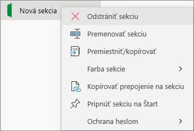 Snímka obrazovky skontextovou ponukou slúžiacou na odstránenie karty sekcie vo OneNote pre Windows 10.