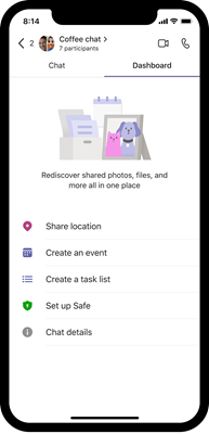 Teams obrázok prázdnej tabule systému iOS