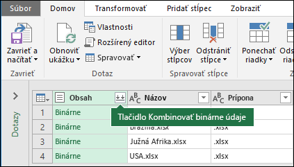 Stlačte tlačidlo Kombinovať binárne údaje vstĺpci dotazu obsahu alebo včasti Kombinovanie na páse snástrojmi Power Query