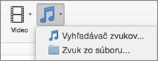 Ponuka vloženia zvuku s možnosťami zvuku zo súboru a vyhľadávača zvukov