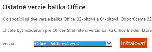 Snímka obrazovky s rozbaľovacieho zoznamu vyberte možnosť nainštalovať Office – 64-bitová verzia