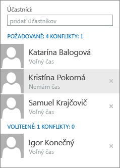 Účastníci v Rozvrhovom asistentovi