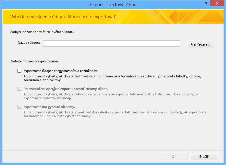 Vyberte možnosti exportovania v dialógovom okne Export – textový súbor.
