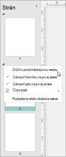 Snímka obrazovky zobrazujúca vybratú sekciu s kurzorom ukazujúcim na možnosť zlúčiť s preDchádzajúcou sekciou.