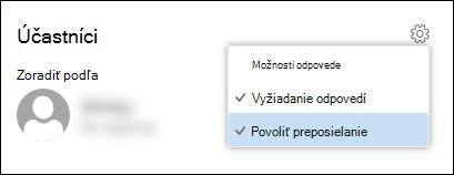 Snímka obrazovky s možnosťou Povoliť preposielanie