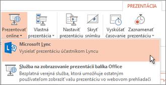 Funkcia Prezentovať online s použitím programu Lync