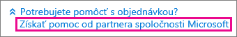 Výber možnosti Získať pomoc od partnera spoločnosti Microsoft