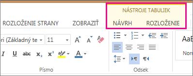 Obrázok kariet Návrh a Rozloženie nakarte Nástroje tabuliek vaplikácii Word Web App