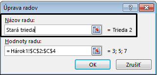 Do textového poľa Názov radu zadajte názov legendy a kliknite na tlačidlo OK.