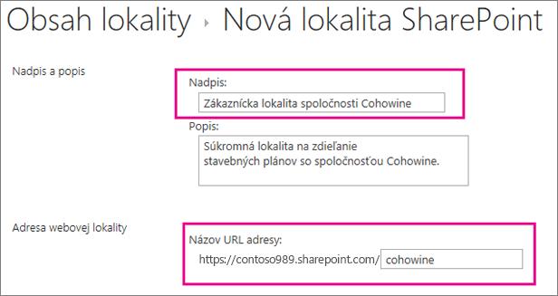 Do poľa Názov zadajte názov pre podlokalitu, do poľa URL zadajte meno zákazníka, čím ho pridáte do URL adresy lokality.