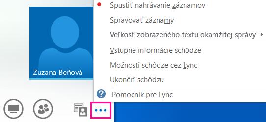 Snímka obrazovky s ďalšími možnosťami v rámci schôdze cez Lync