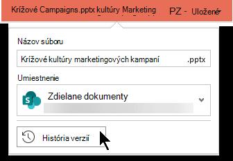 Ak chcete získať prístup k histórii verzií súboru, vyberte názov súboru v záhlaví okna.