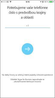 Obrazovka sčíslom na spätné volanie vSkype for Business pre iOS