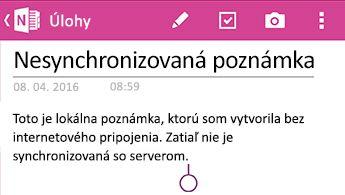 Nesynchronizovaná Poznámka vo OneNote pre Android