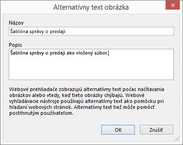 Dialógové okno pridania alternatívneho textu k výtlačku súboru