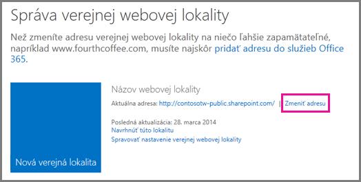 Správa verejnej webovej lokality so zobrazeným umiestnením položky Zmeniť adresu.