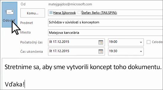 Odosielanie tvárou v tvár e-mailovú pozvánku