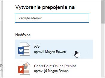 Pridanie prepojenia v knižnici dokumentov na naposledy použité položky