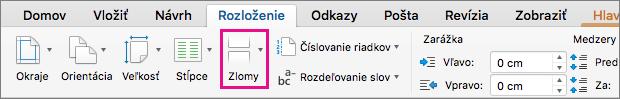Kliknutím na položku Zlomy vyberiete typ zlomu strany, ktorý sa vloží na aktuálnu pozíciu kurzora.