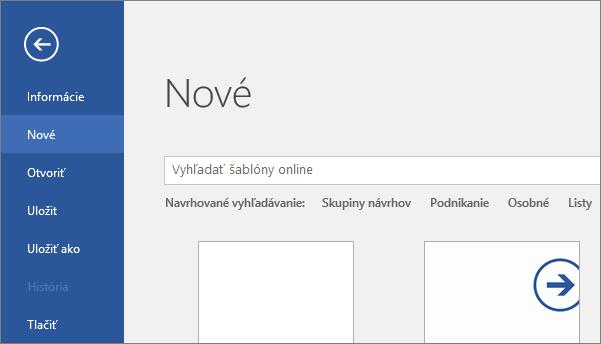 Zobrazenie obrazovky Súbor > Nové vo Worde 2016