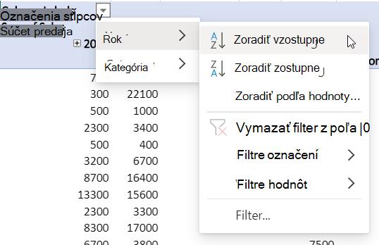 Oblasť riadkov s kombinovanými filtrami