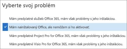 Zobrazuje možnosť aktivácie balíka Office v Support and Recovery Assistantovi