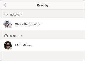 Obrazovka Čítať podľa v Teams
