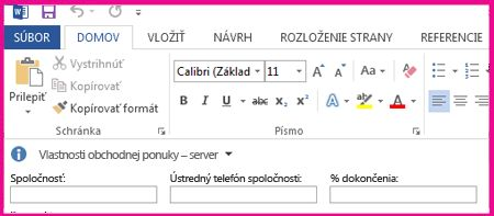 Informačný panel dokumentu zobrazuje textové polia vo formulári na zhromaždenie metaúdajov od používateľov.