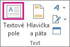 Tlačidlo Textové pole vskupine Text