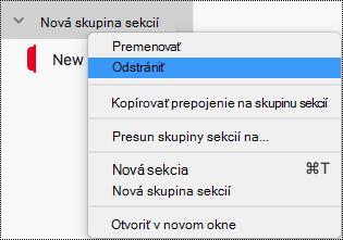 Odstránenie skupiny sekcií vo OneNote pre Mac